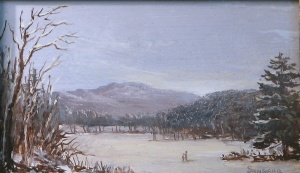 Lauren Sansaricq, Snow Scene in Jackson N.H., 2011. Oil on artist's board