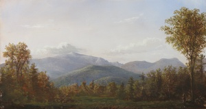 Lauren Sansaricq, View of the Mt. Washington Valley, 2012. Oil on artist's board, 8 ¼ x 15 ¼ in.