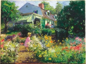 Matilda Browne, In Voorhees' Garden, 1914, Oil on canvas, 18 x 24 inches, Collection of the Florence Griswold Museum